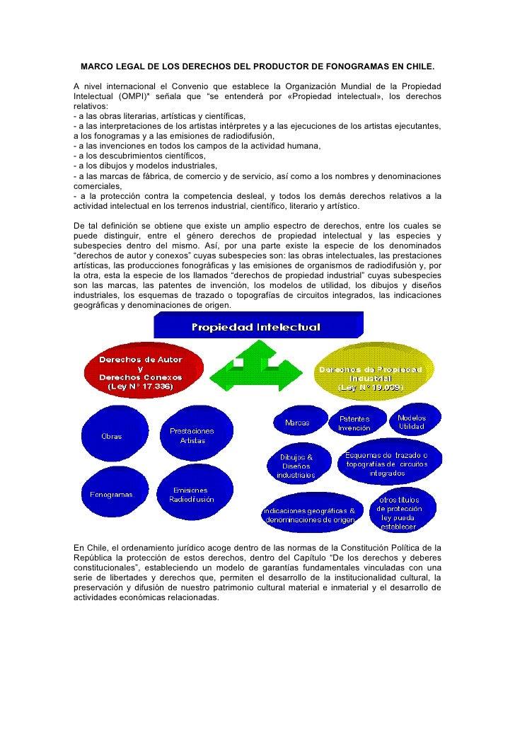MARCO LEGAL DE LOS DERECHOS DEL PRODUCTOR DE FONOGRAMAS EN CHILE.  A nivel internacional el Convenio que establece la Orga...