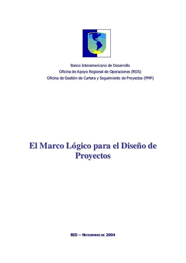 Marco lógico para proyectos bid