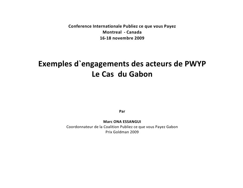 Conference Internationale Publiez ce que vous Payez                        Montreal - Canada                       16-18 n...