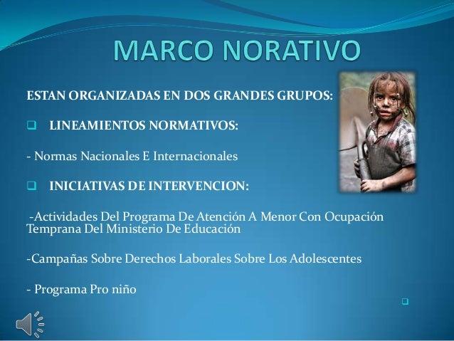 ESTAN ORGANIZADAS EN DOS GRANDES GRUPOS:   LINEAMIENTOS NORMATIVOS:  - Normas Nacionales E Internacionales   INICIATIVAS...