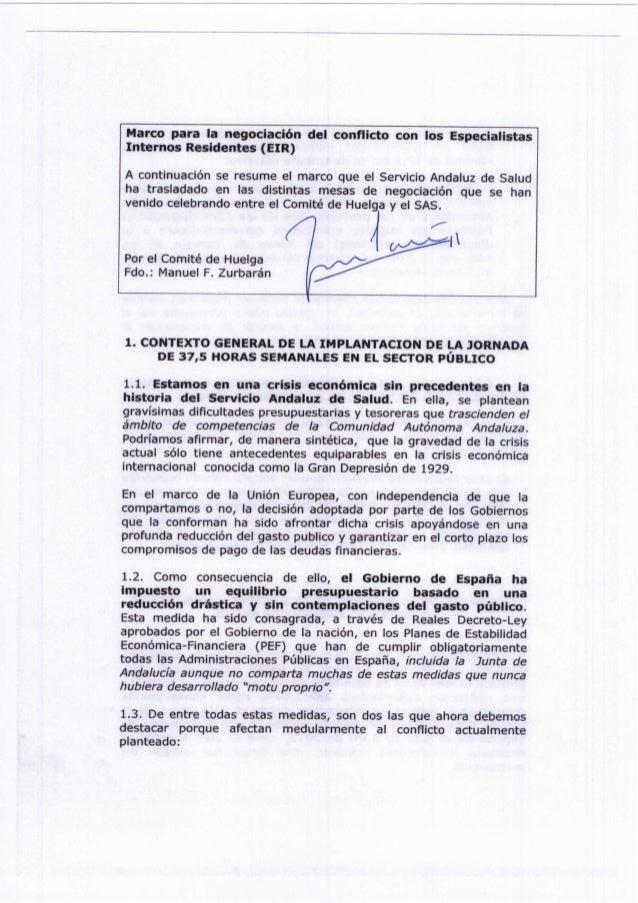 Marco para la negociación del conflicto con los Especialistas Internos Residentes