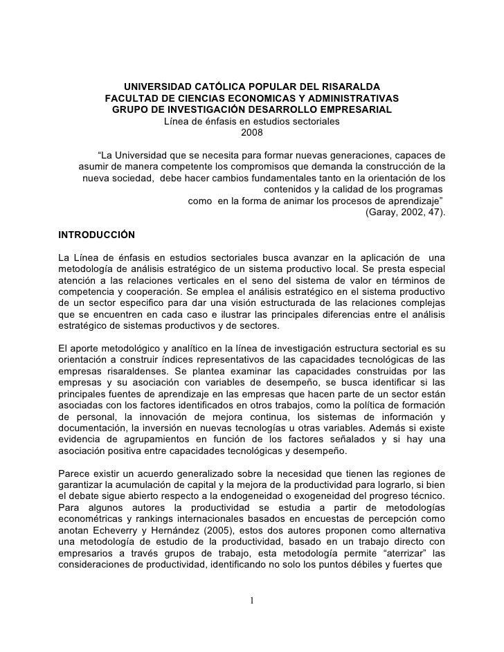 UNIVERSIDAD CATÓLICA POPULAR DEL RISARALDA           FACULTAD DE CIENCIAS ECONOMICAS Y ADMINISTRATIVAS            GRUPO DE...