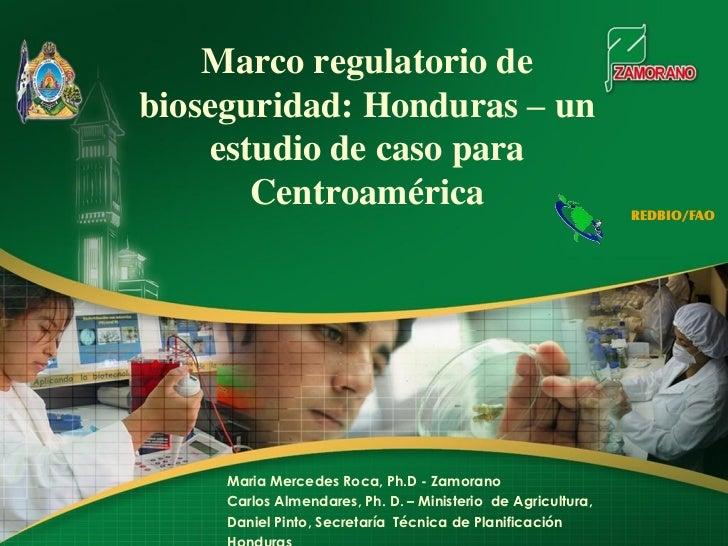 Marco regulatorio debioseguridad: Honduras – un     estudio de caso para        Centroamérica                             ...