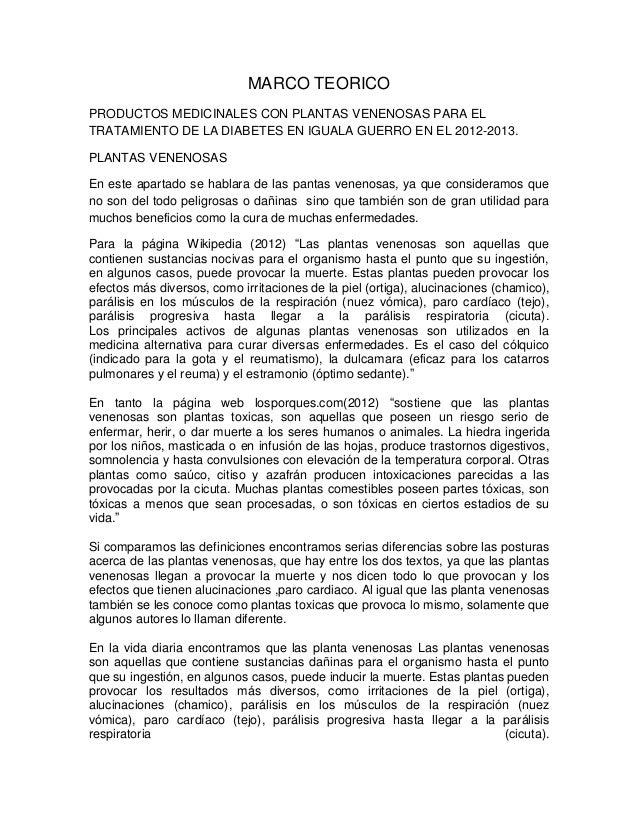 MARCO TEORICOPRODUCTOS MEDICINALES CON PLANTAS VENENOSAS PARA ELTRATAMIENTO DE LA DIABETES EN IGUALA GUERRO EN EL 2012-201...