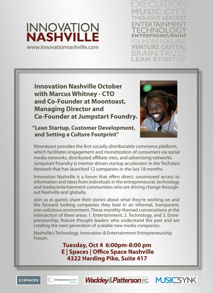 """Innovation Nashville, October 4th guest is Marcus Whitney CTO and Co-Founder at Moontoast. """"Lean Startup, Customer Develo..."""