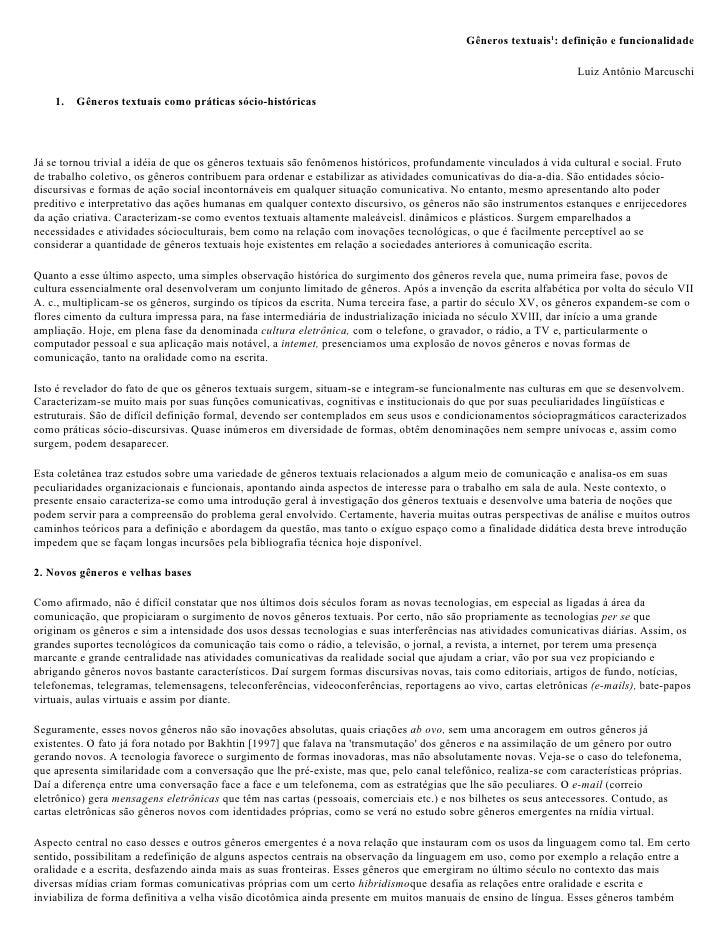 Gêneros textuais1: definição e funcionalidade                                                                             ...