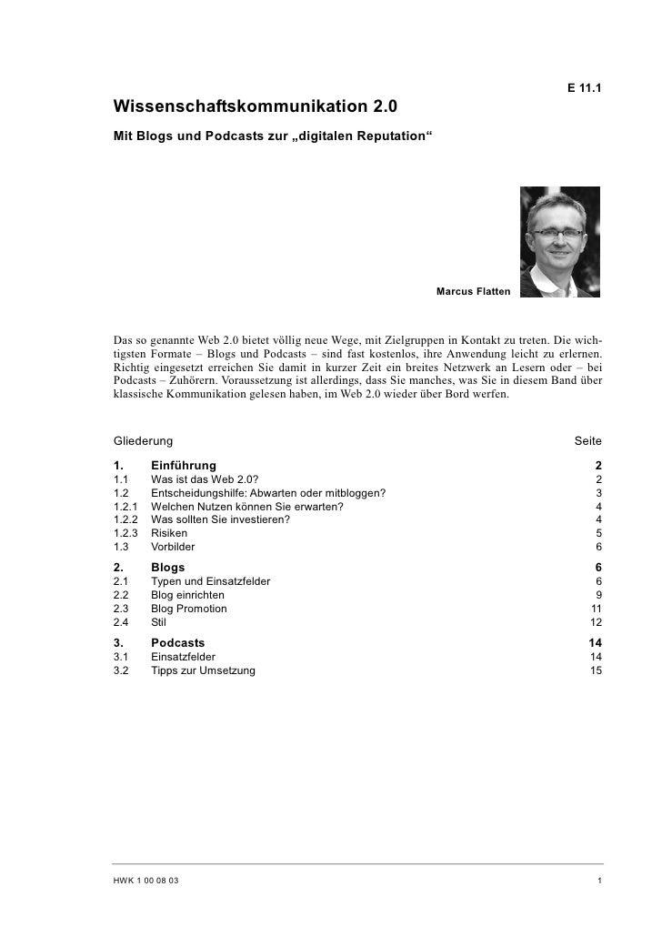 Marcus Flatten: Wissenschaftskommunikation 2.0