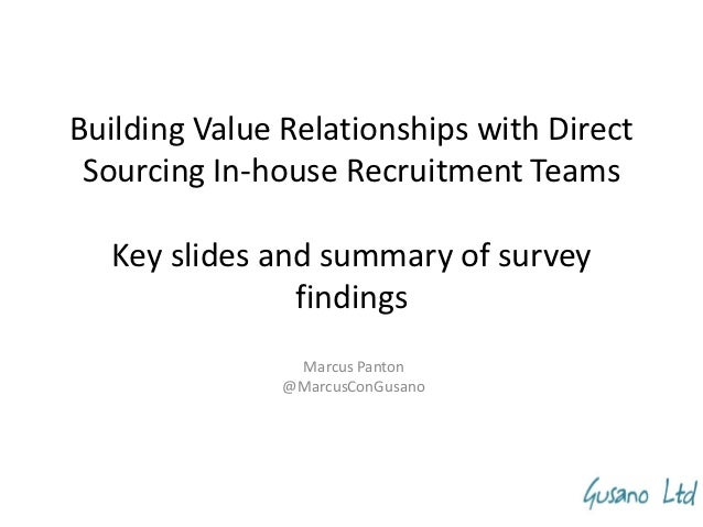 Building Value Relationships with Direct Sourcing In-house Recruitment Teams  Key slides and summary of survey            ...