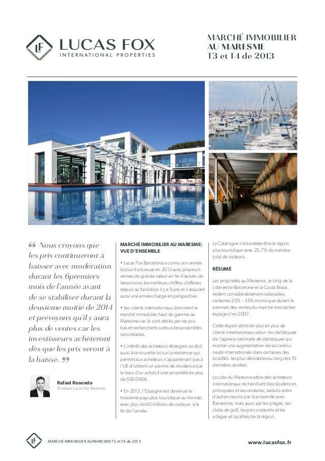 Étude de marché immobilier du Maresme T3-T4 de 2013