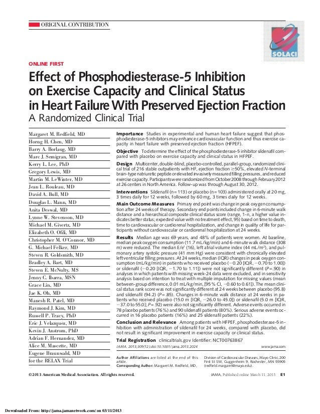 ORIGINAL CONTRIBUTIONONLINE FIRSTEffect of Phosphodiesterase-5 Inhibitionon Exercise Capacity and Clinical StatusinHeartFa...