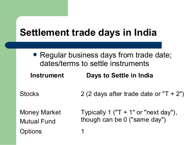 Trade settlement options