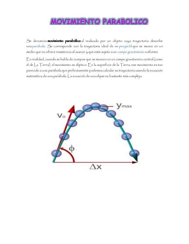 Se denomina movimiento parabólico al realizado por un objeto cuya trayectoria describe una parábola. Se corresponde con la...