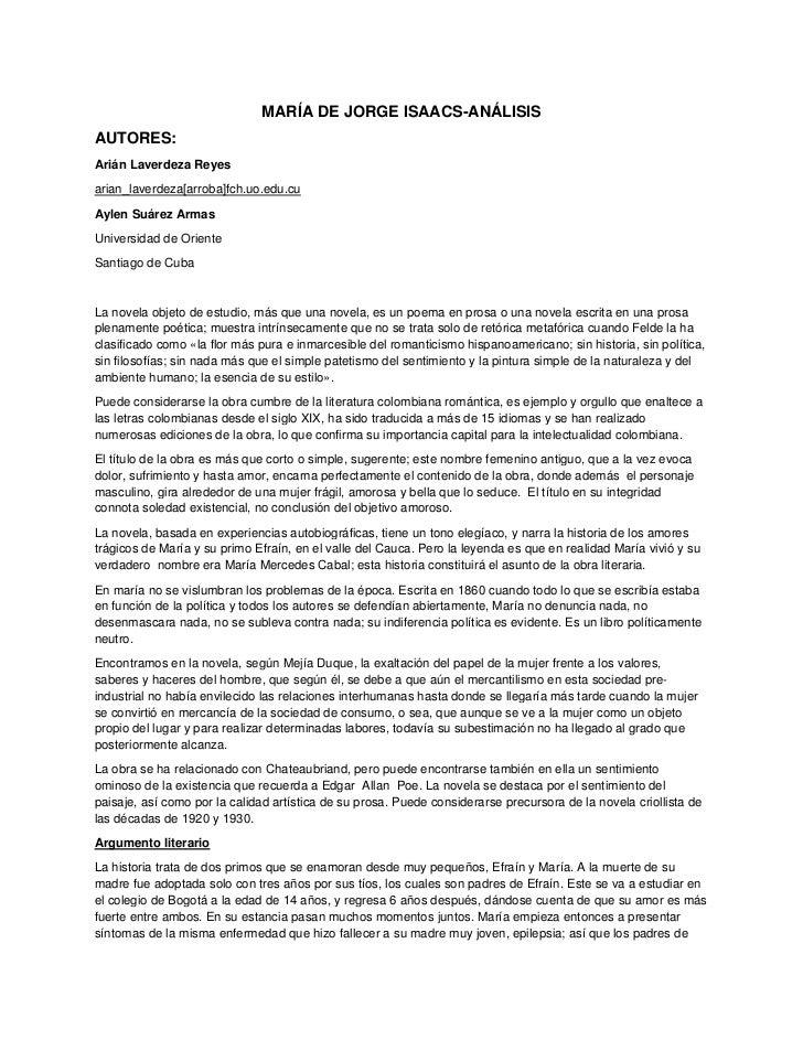 MARÍA DE JORGE ISAACS-ANÁLISISAUTORES:Arián Laverdeza Reyesarian_laverdeza[arroba]fch.uo.edu.cuAylen Suárez ArmasUniversid...