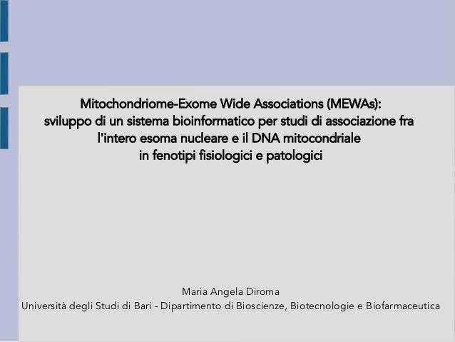 Mitochondriome-Exome Wide Associations (MEWAs): sviluppo di un sistema bioinformatico per studi di associazione fra l'inte...