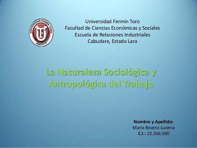 Universidad Fermín Toro    Facultad de Ciencias Económicas y Sociales        Escuela de Relaciones Industriales           ...