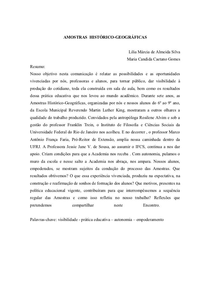 AMOSTRAS HISTÓRICO-GEOGRÁFICAS                                                        Lilia Márcia de Almeida Silva       ...