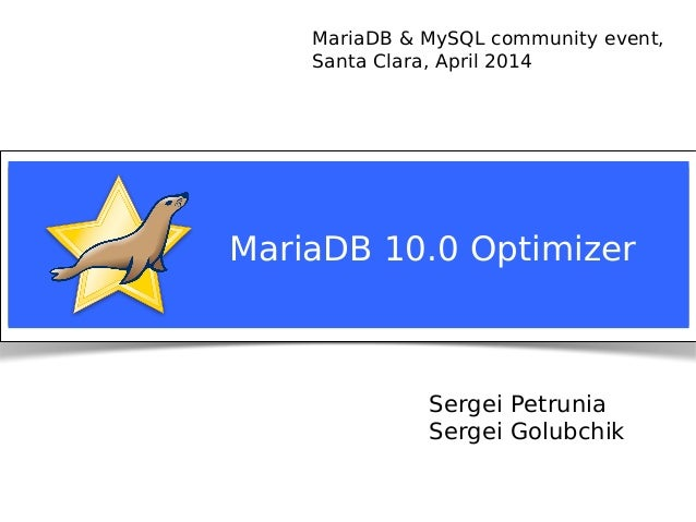 MariaDB 10.0 Query Optimizer