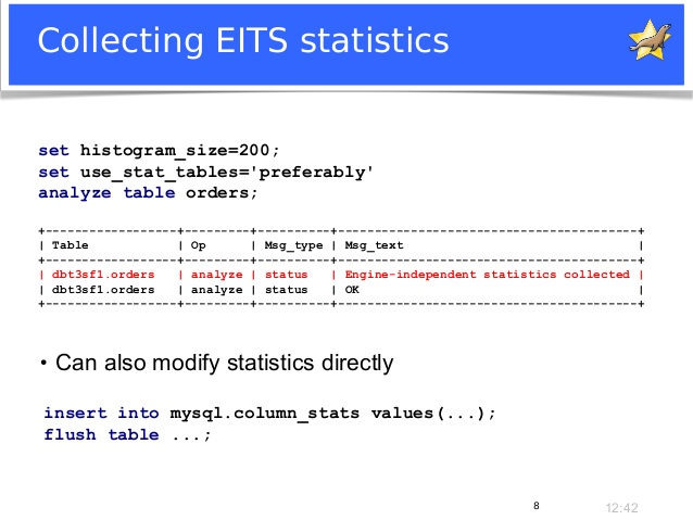 analyze table estimate statistics 2