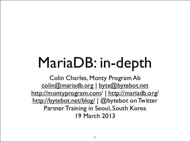 MariaDB: in-depth (hands on training in Seoul)