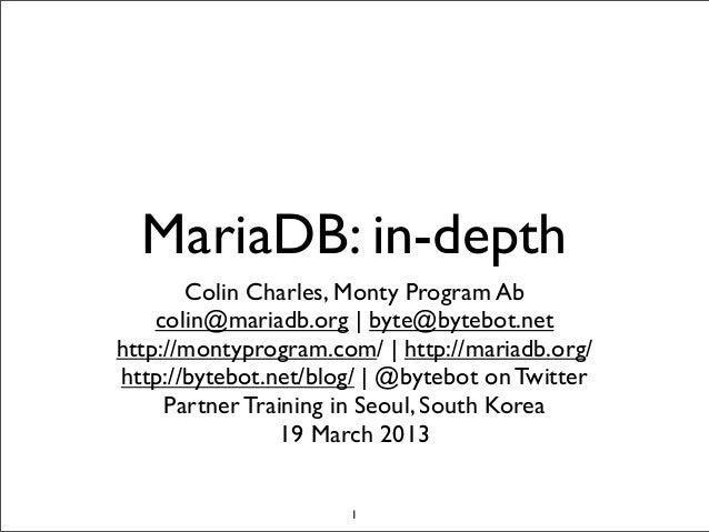 MariaDB: in-depth (hands on training in Seoul)