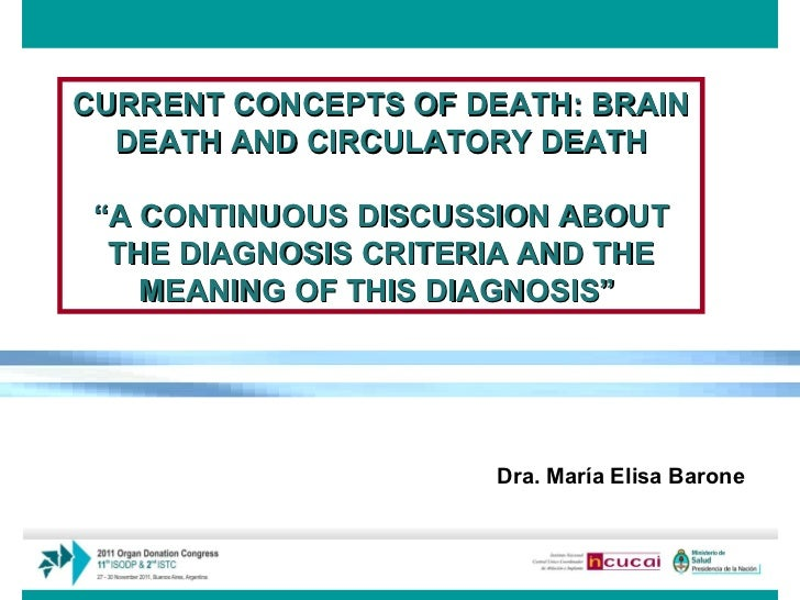 """CURRENT CONCEPTS OF DEATH: BRAIN DEATH AND CIRCULATORY DEATH """" A CONTINUOUS DISCUSSION ABOUT THE DIAGNOSIS CRITERIA AND TH..."""