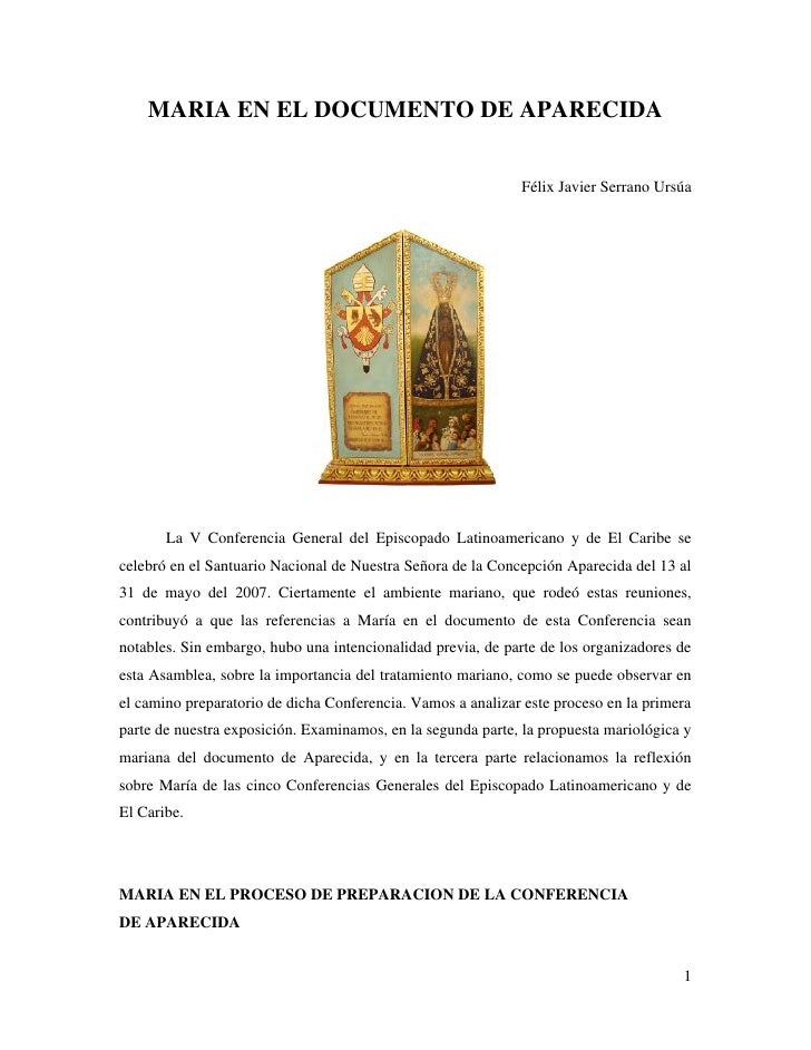 MARIA EN EL DOCUMENTO DE APARECIDA                                                             Félix Javier Serrano Ursúa ...