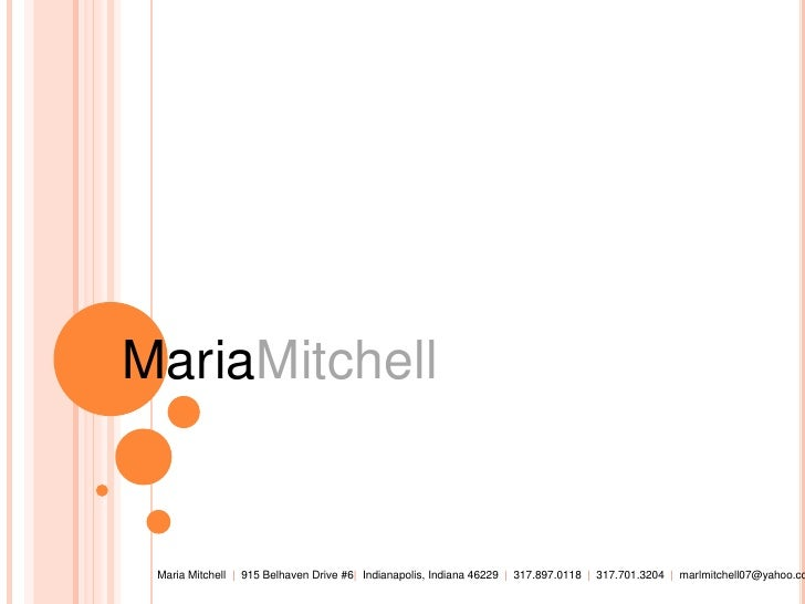 Maria Mitchell Portfolio
