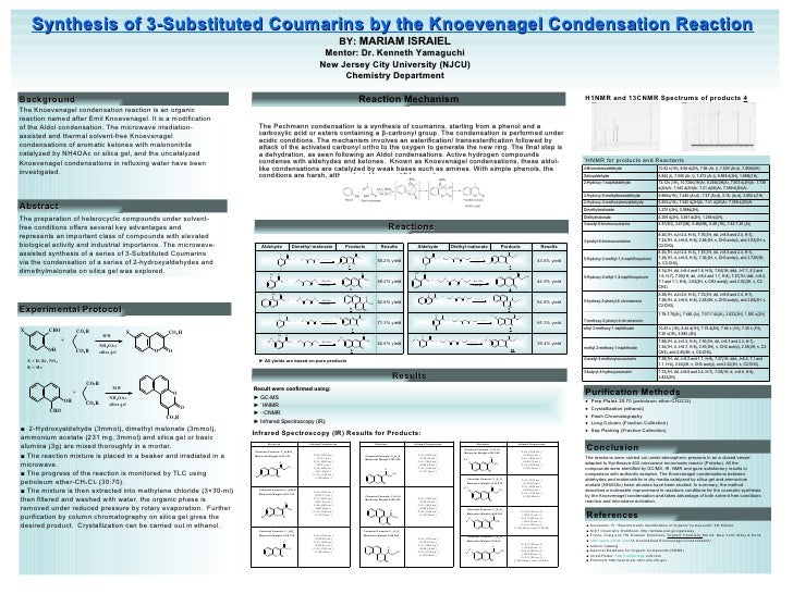 Synthesis of 3-Substituted Coumarins by the Knoevenagel Condensation Reaction   BY:  MARIAM ISRAIEL Mentor: Dr. Kenneth Ya...
