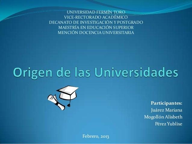 UNIVERSIDAD FERMÍN TORO     VICE-RECTORADO ACADÉMICODECANATO DE INVESTIGACIÓN Y POSTGRADO   MAESTRÍA EN EDUCACIÓN SUPERIOR...