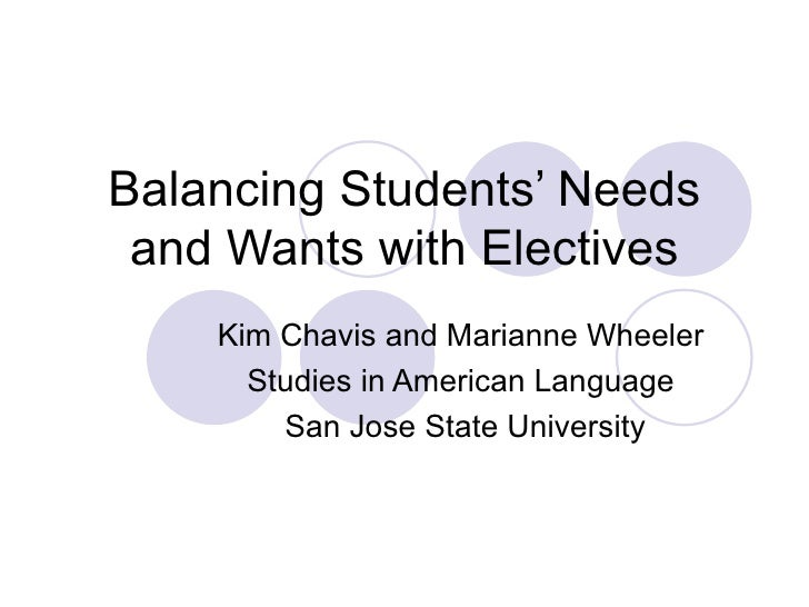 Balancing Students' Needs and Wants with Electives Kim Chavis and Marianne Wheeler  Studies in American Language  San Jose...
