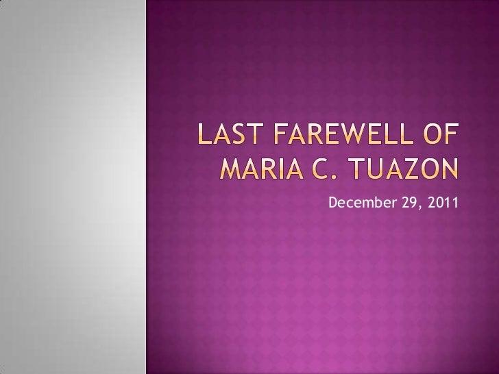 Maria Tuazon's Last farewell at holy gardens pangasinan  memorial park