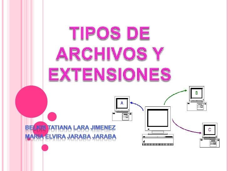 TIPOS DE ARCHIVOS Y  EXTENSIONES <br />BELKIS TATIANA LARA JIMENEZ<br />MARIA ELVIRA JARABA JARABA<br />