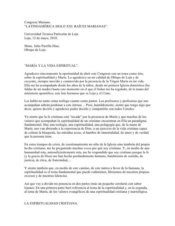 """Congreso Mariano. """"LATINOAMÉRICA SIGLO XXI: RAÍCES MARIANAS"""".  Universidad Técnica Particular de Loja Loja, 12 de mayo, 20..."""