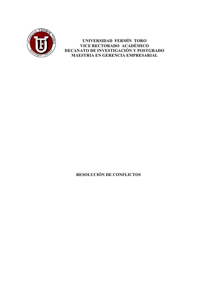 UNIVERSIDAD FERMÍN TORO      VICE RECTORADO ACADÉMICO DECANATO DE INVESTIGACIÓN Y POSTGRADO   MAESTRIA EN GERENCIA EMPRESA...
