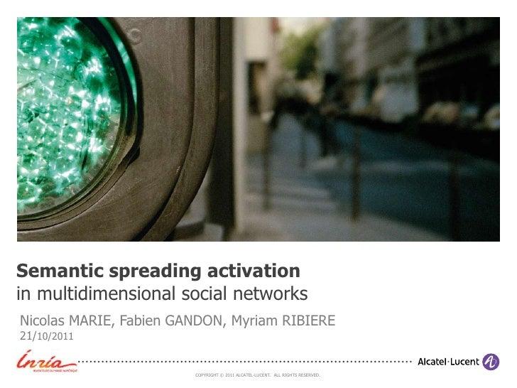 Semantic spreading activationin multidimensional social networksNicolas MARIE, Fabien GANDON, Myriam RIBIERE21/10/2011    ...