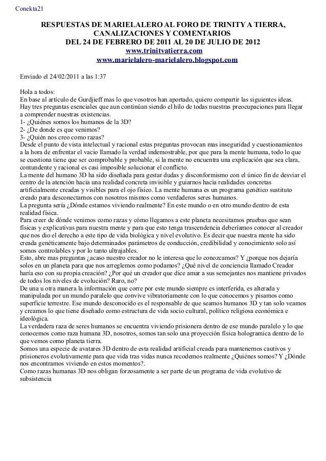 PDF 1: RESPUESTAS DE MARIELALERO AL FORO DE TRINITY A TIERRA, CANALIZACIONES Y COMENTARIOS HASTA EL 9 DEL SETIEMBRE DE 201...