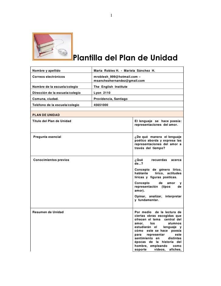 1                            Plantilla del Plan de UnidadNombre y apellido                 Marta Robles H. - Mariela Sánch...