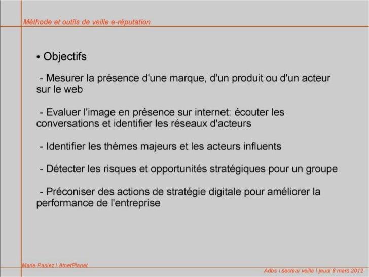 """""""Méthode et outils de veille e-réputation"""" Marie Paniez, AltnetPlanet"""