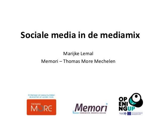Sociale media in de mediamix
