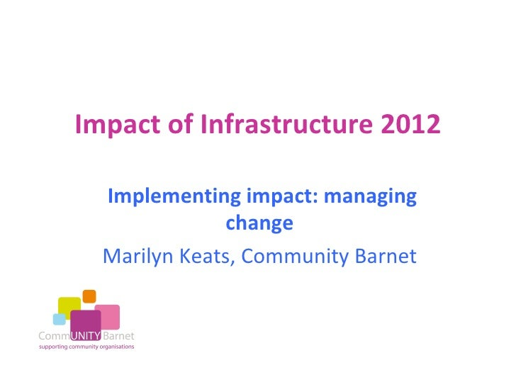 Impact of Infrastructure 2012  Implementing impact: managing               change  Marilyn Keats, Community Barnet