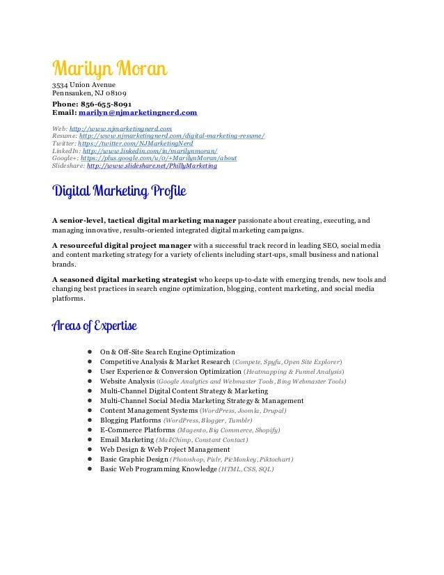 digital marketing manager resume marilyn