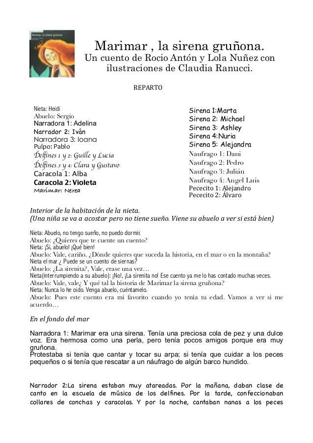 Marimar , la sirena gruñona.Un cuento de Rocio Antón y Lola Nuñez conilustraciones de Claudia Ranucci.Interior de la ...