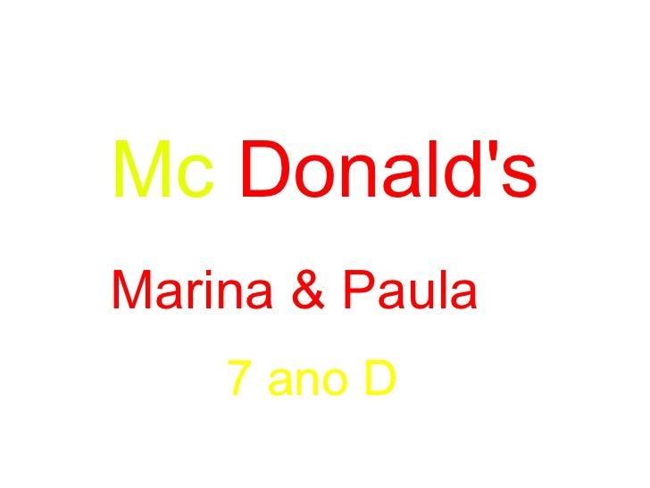 Mc   Donald's Marina & Paula  7 ano D