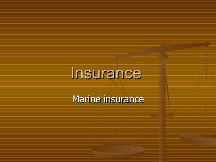 Insurance  Marine insurance