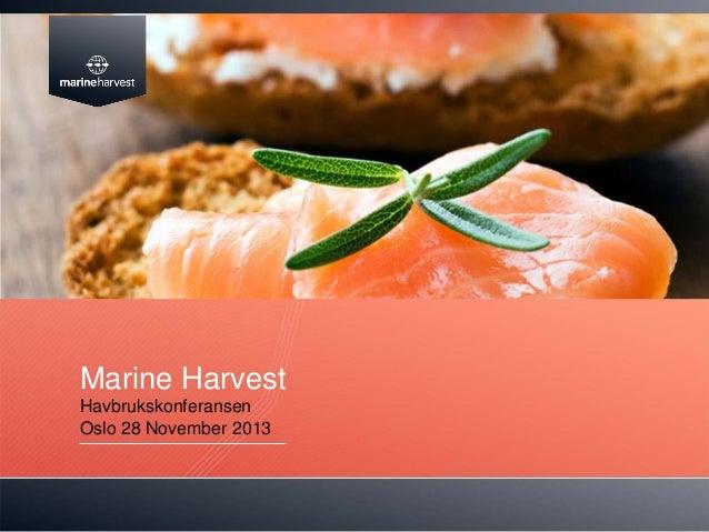 Marine Harvest Havbrukskonferansen Oslo 28 November 2013