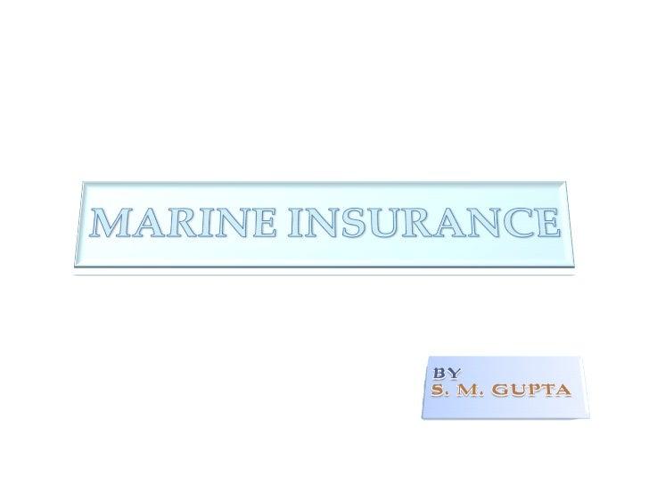 Basics of Marine Insurance.
