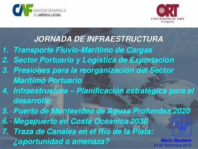 JORNADA DE INFRAESTRUCTURA 1. Transporte Fluvio-Marítimo de Cargas 2. Sector Portuario y Logística de Exportación 3. Presi...
