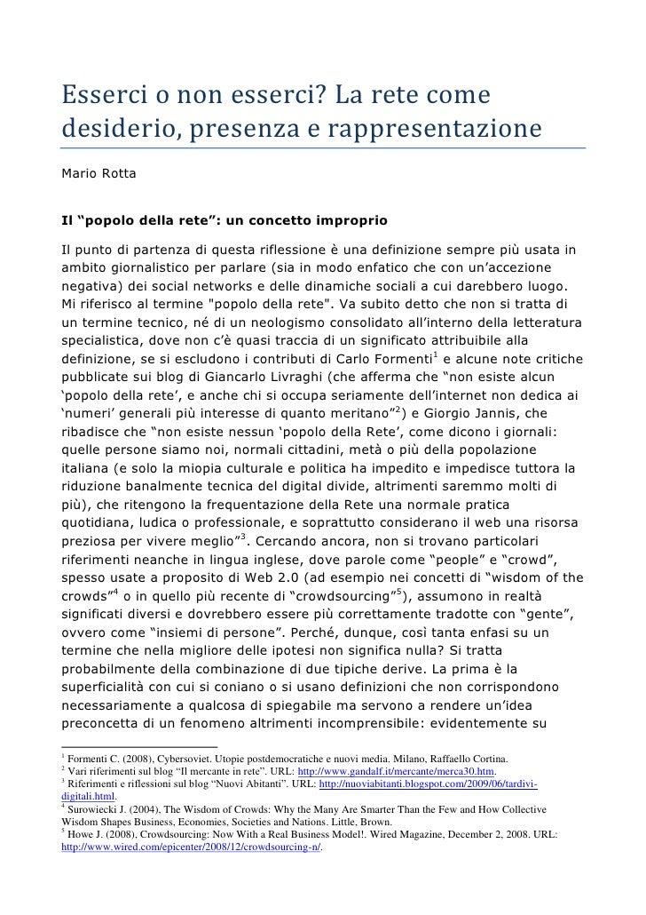 """Esserci o non esserci? La rete come desiderio, presenza e rappresentazione Mario Rotta   Il """"popolo della rete"""": un concet..."""