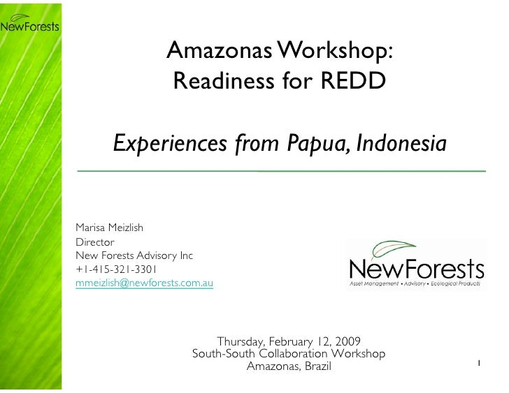 Amazonas Workshop:                    Readiness for REDD         Experiences from Papua, Indonesia   Marisa Meizlish Direc...
