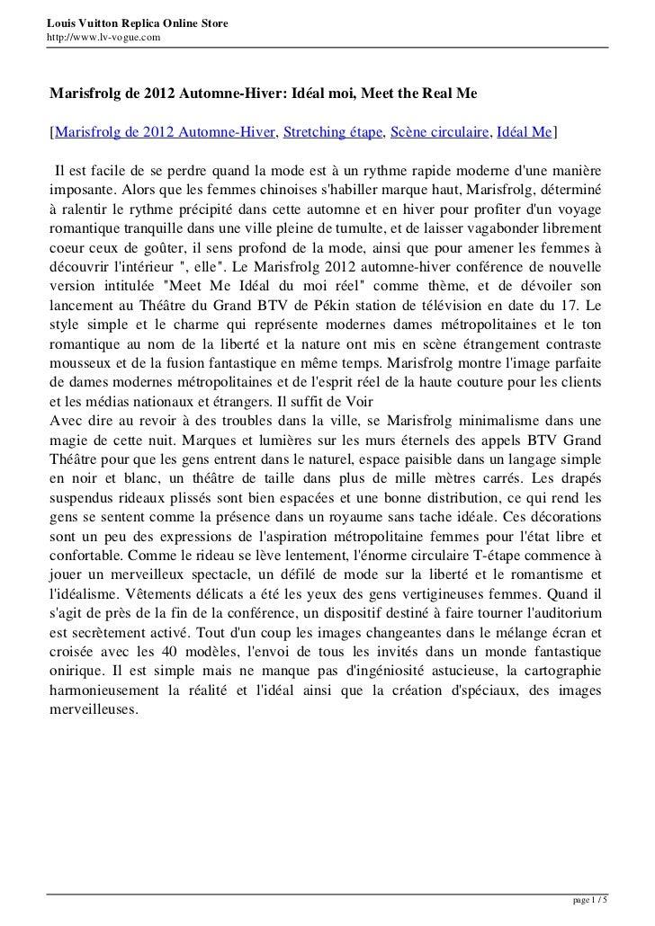 Louis Vuitton Replica Online Storehttp://www.lv-vogue.comMarisfrolg de 2012 Automne-Hiver: Idéal moi, Meet the Real Me[Mar...